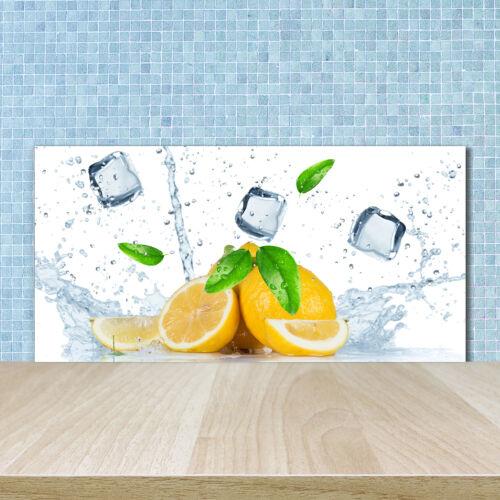 Küchenrückwand Spritzschutz aus Glas 100x50 Deko Essen /& Getränke Zitronen Eis