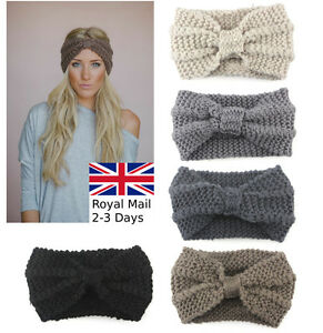 Women-Ladies-Winter-Cross-Crochet-Knitted-Wool-Headband-Hairband-Earmuffs
