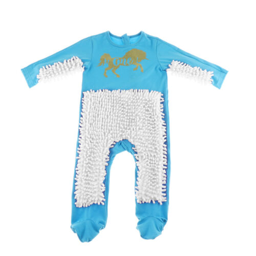 White Baby Toddler Long Sleeve Mop Rompers Jumpsuit Playsuit Sky Blue
