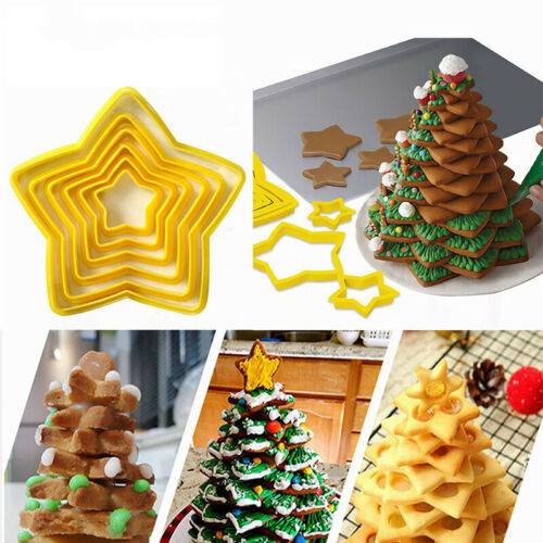 6Pcs//set Christmas Tree Cookie Cutter Stars Shape Cake Biscuit Cutter M NMHWCG0H