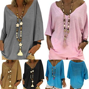 Womens-Summer-V-Neck-Long-Sleeve-Baggy-Blouse-Solid-Tunic-Tops-T-Shirt-Plus-Size