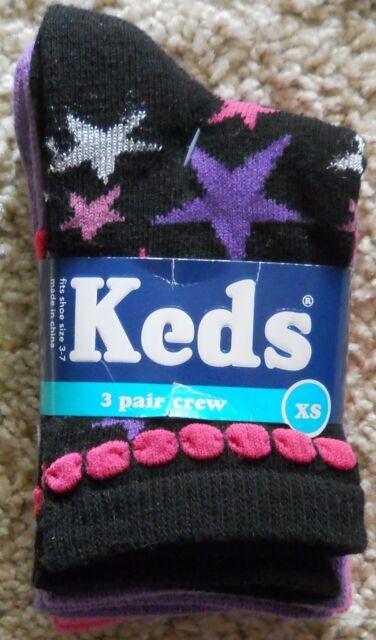 Keds Kids Girls Socks Lot Printed Stars Polka Dots Color New XS