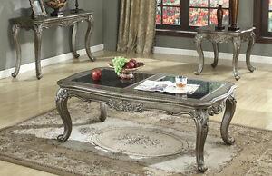 NEW PC ARABELLA TRADITIONAL GRANITE PLATINUM FINISH WOOD COFFEE - Arabella coffee table