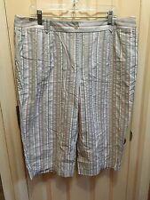 Lknu Pure Cotton Cropped Pants, Capris Talbots 18W Plus Vertical Stripes