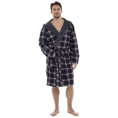 Wolfe /& Harte Homme Flanelle Carreaux Robe De Chambre Avec Capuche Doublée En Polaire Peignoir Wrap