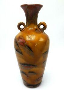 Vintage Iridescent Glazed Vase Art Pottery Signed Orange Red Gold China Japan