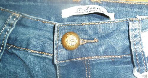 10 UK Le ragazze da donna effetto anticato con borchie denim hotpants pantaloncini taglia 6-8