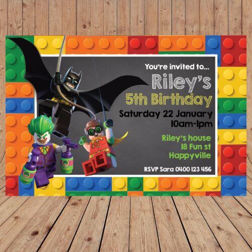 Personalised LEGO BATMAN ROBIN JOKER Kids Birthday Invitations Invites YOU PRINT