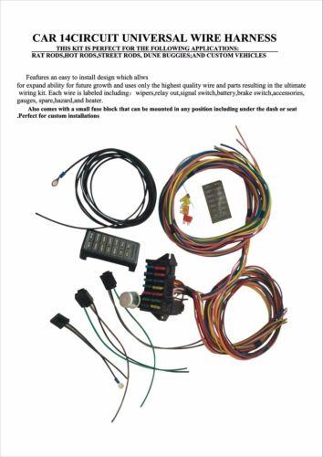 12 Circuit Basic Wire Harness Fuse Box street hot rat rod wiring car truck 12V