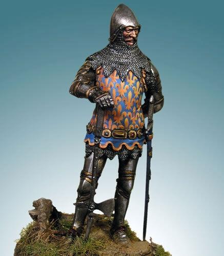 Giovanni II della Francia Battaglia di Poitiers 54mm 1 32 Tin Painted giocattolo SoldierMuseo
