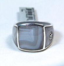New David Yurman Men's Three Sided Botswana Agate Signet Ring Silver Sz 11 $850