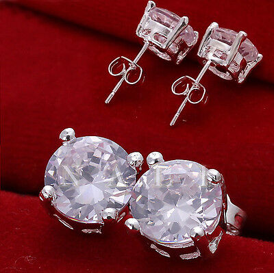 FASHION WOMEN LADY SILVER PLATED JEWELRY  LADY CRYSTAL CHARM EARRINGS STUD GIFT