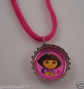 Dora-the-Explorer-bottle-cap-necklace-Pink