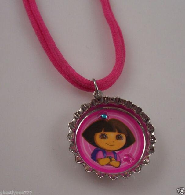 Dora the Explorer bottle cap  necklace Pink
