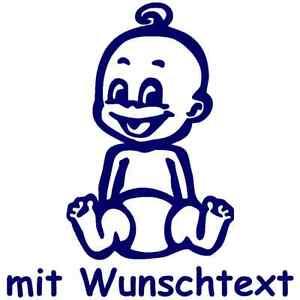 Babyaufkleber Kinderaufkleber mit eigenem Spruch Wunschtext in Bunt