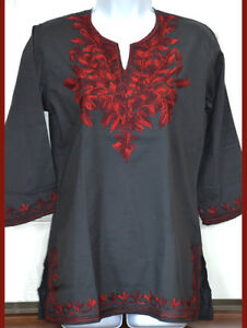 Cotton-Tunic-Top-Kurti-Blouse-Black-Color-with-Red-Embroidery-from-India