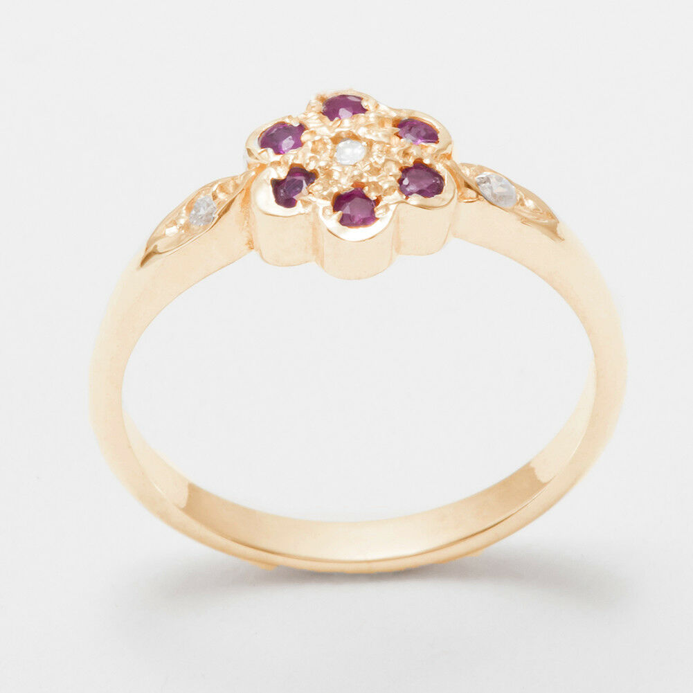 Solid 14k pink gold Natural Diamond & Ruby Womens Cluster Ring - Sizes 4 to 12