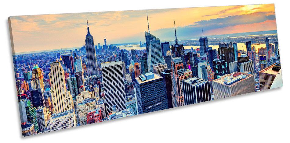 Sunset horizonte de la ciudad York de Nueva York ciudad LONA pared arte panorama enmarcado impresión ff86be