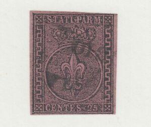 Parma-Sc-4-used-1852-25c-black-on-violet-Crown-amp-Fleur-de-Lis-sound