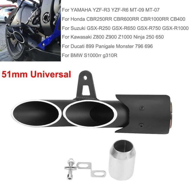 Dual Outlet Motorcycle Exhaust Muffler Tail Pipe Slip On 38mm-51mm Universal  G1