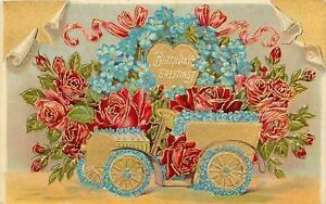 Red-Roses-in-Vintage-Auto-Blue-Forget-Me-Not-Wheels-Scroll-Back-Gold-Leaf-Emboss