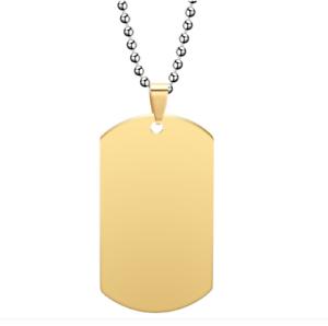 Collana Acciaio PVD GOLD Targa Targhetta Militare Con Incisione Personalizzata