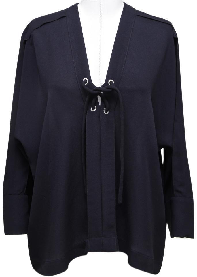 IRO Blouse Tunic Shirt Navy Blau Silk Sheer Lace-Up 3 4 Sleeve 40