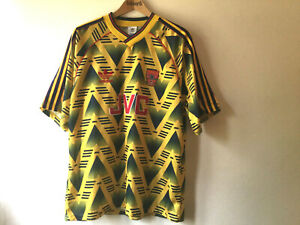 Original Genuine Arsenal Bruised Banana Away Shirt 1991 1992 1993 Size 42-44
