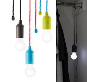 Kabellose Led Gluhbirne Licht Lampe Fassung 8 Farben Zugschalter An