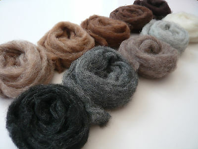 Heidifeathers 'Menagerie Mix' 10 blended Natural Wool Slivers - Felting Wools