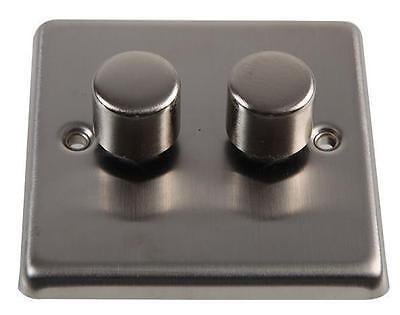Satin Steel Push Dimmer Switch - 400W 2gang 2way Volex