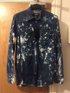 e01e9a3ff7 Image is loading Dsquared2-Bleached-Blue-Distressed-Western-Denim-Shirt -Size-