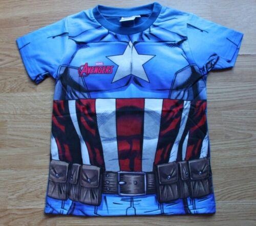 Boys Torso T-Shirt Kids Superhero Kids Superman Captain America Iron Top 2-12 Yr