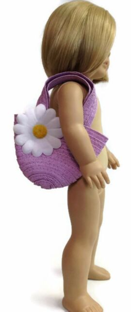 Lavender Straw Daisy Easter Purse 18 in Doll Clothes Fit American Girl Doll