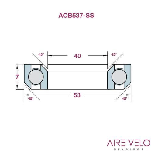 TREK MADONE LOWER HEADSET UPTO 2010 ACB537-SS STAINLESS 40 x 53 x 7 45//45