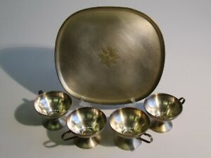Vintage-Service-Plated-Silver-With-Tray-And-4-Cups-Period-Xx-Century