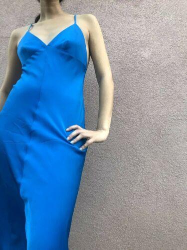 Milly Electric Blue Backless Silk Slip Dress Size