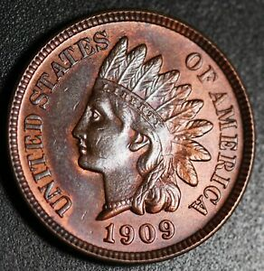 1909-INDIAN-HEAD-CENT-BU-UNC-With-A-TOUCH-OF-MINT-LUSTER
