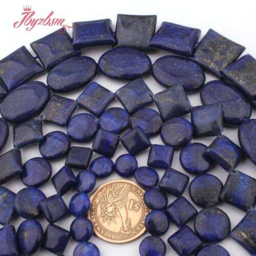 """Coin Oval Square Rondelle Loose Bead Blue Lapis Lazuli for Jewelry Making 15/""""DIY"""