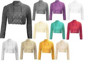 Ladies-Girls-Crochet-Metallic-Lurex-Cropped-Bolero-Shrug-Short-Cardigan-Siz-8-14