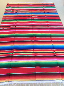 Genuine Mexican sarape blanket red throw hot rod car seat yoga mat ... c350661ad