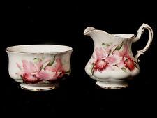 Antique Paragon Pink Iris Pattern Sugar Bowl and Cream Pitcher