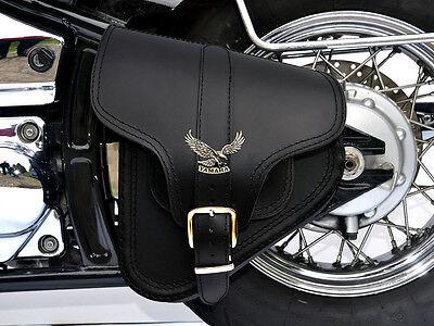 (B4) Yamaha Dragstar Vstar XVS 650 Leather Swingarm Saddle Bag Pannier Single