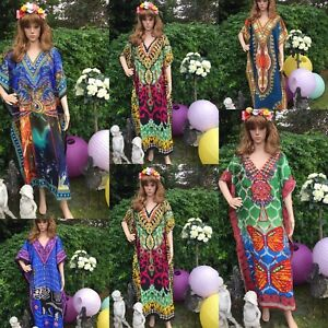Kaftan-free-size-loose-hippy-boho-kimono-sleeves-bat-wings-Dashiki-Paisley-print
