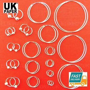 925-STERLING-SILVER-HOOP-SLEEPER-EARRINGS-8-70mm-SMALL-TINY-SET-LARGE-BALL-GIRLS