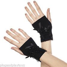 Soft Black Fingerless Wrist Length Gloves Satin Bows Sparkly Accents Punk Gothic