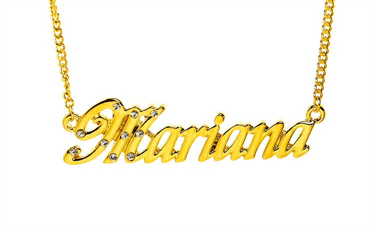 Collier Prénom MARIANA 18K Plaqué or - Petite amie Mode Accessoires identité