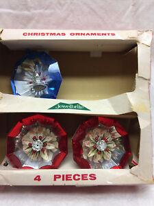3-Assorted-Vintage-Jewelbrite-Diorama-Plastic-Christmas-Tree-Ornaments-Flower