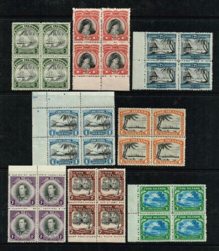 Cook Islands 194446 George VI set to 3s. less 2d., MNH blocks SG#137145