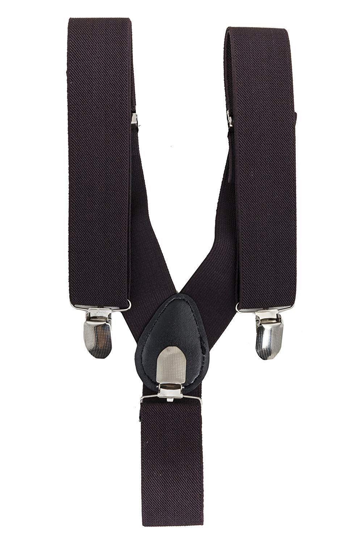 Edle Hosenträger 3 Clips Y-Form - schwarz braun grau blau beige - 3,5cm breit